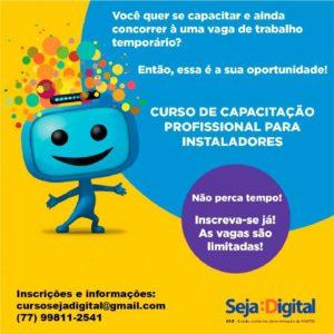 Seja Digital oferece vagas em Vitória da Conquista para curso de instalador de conversor e antena digital